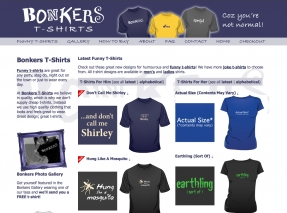 Bonkers website for new business selling funny t-shirts online