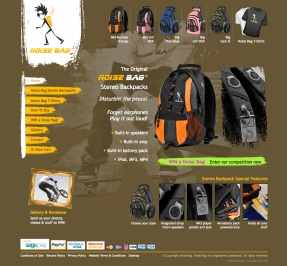 Noise Bag MP3 player backpacks get an IC360 ecommerce website