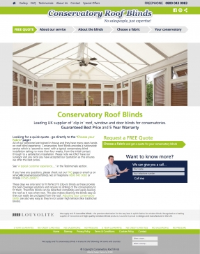Conservatory Roof Blinds homepage