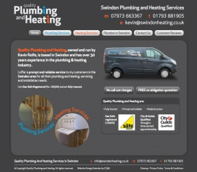 Quality Plumbing and Heating Swindon website homepage design
