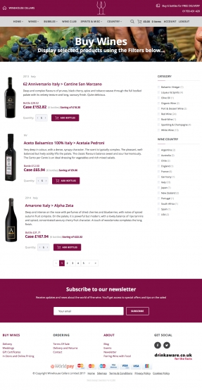 Wine products listing page