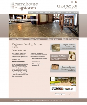 Homepage with slideshow to promote product range