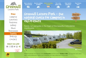 Fun website designed for Oxfordshire based Greenhill Leisure Park