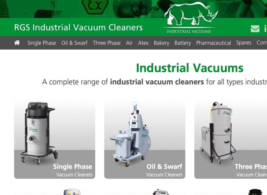 Rhino Industrial Vacuums homepage