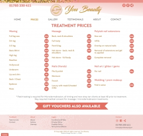 Manicure and pedicure prices page