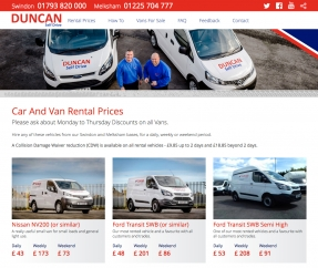 Responsive website redesigned and rebuilt from the ground up for Duncan Self Drive