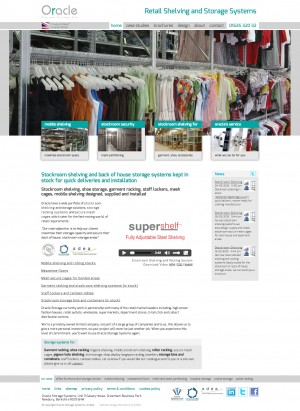 Retail Shelving Storage website homepage