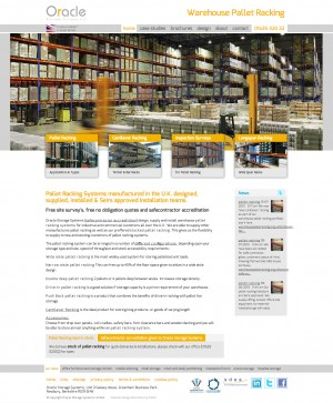 Warehouse Pallet Racking website homepage